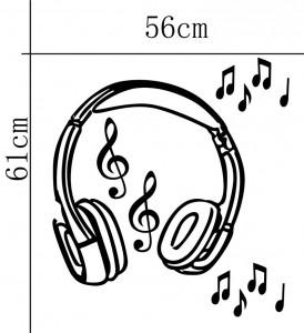 Sticker perete Headset black