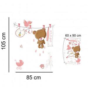 Sticker perete Pink Bear Baby Shower