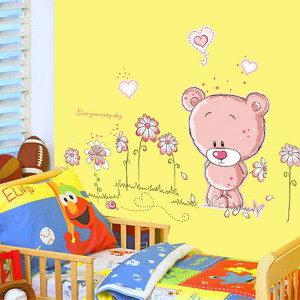 Sticker perete Pink Bear in the flowers
