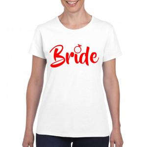Tricou personalizat dama alb Bride S
