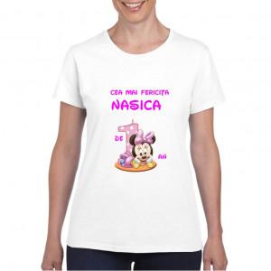 Tricou personalizat dama alb Cea mai Fericita Nasica Fetita