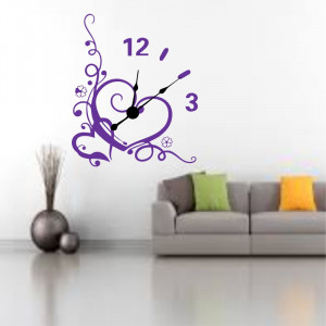 Sticker decorativ ceas Inima