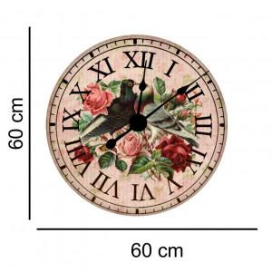 Sticker decorativ ceas vintage porumbei si trandafiri