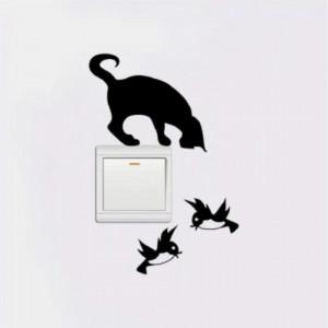 Sticker intrerupator Pisica Neagra si Pasari