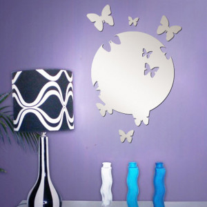 Sticker oglinda acrilica luna cu fluturi argintii 2