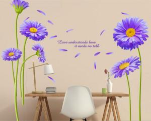 Sticker perete Crizanteme albastre 60x90 cm