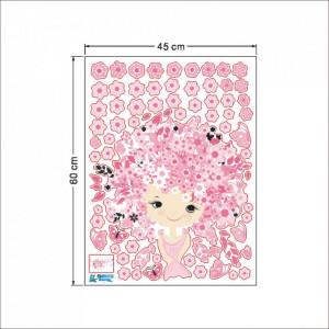 Sticker perete Flower Girl Pink