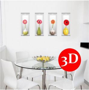 Sticker perete Flowers 3D crizanteme 4pcs/set 60x90cm