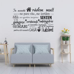 Sticker perete In aceasta casa Regulile Casei Noastre