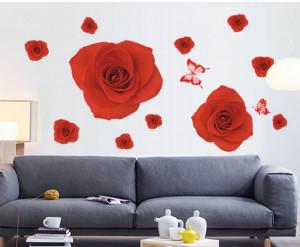 Sticker perete Romantic Red Rose 60x90cm