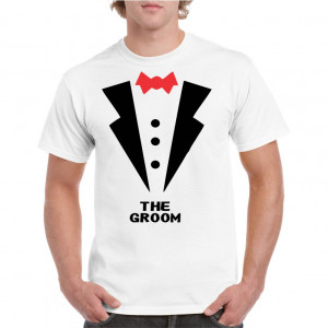 Tricou personalizat barbati alb The Groom 1 S