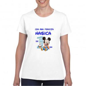 Tricou personalizat dama alb Cea mai Fericita Nasica Baietel