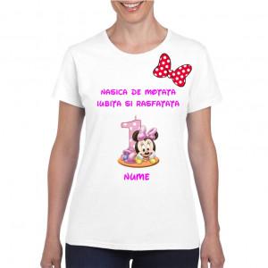 Tricou personalizat dama alb Nasica de Motata Iubita si Rasfatata S
