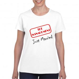 Tricou personalizat dama alb The Management