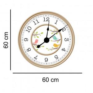 Sticker decorativ ceas pasari colorate