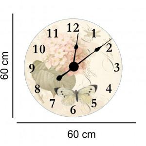 Sticker decorativ ceas vintage flori si fluturi