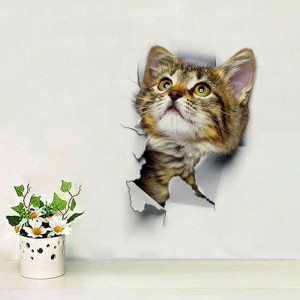 Sticker decorativ Here I Am Kitten looking up 25x16.5.cm