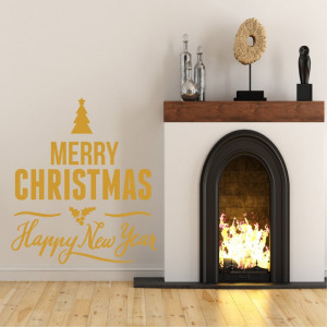 Sticker decorativ Merry Christmas and a Happy New Year Auriu
