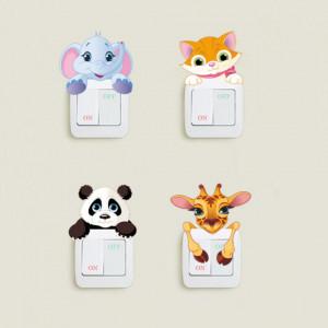 Sticker intrerupator panda 9 x 10 cm