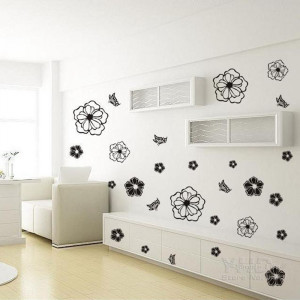 Sticker perete Black Flowers