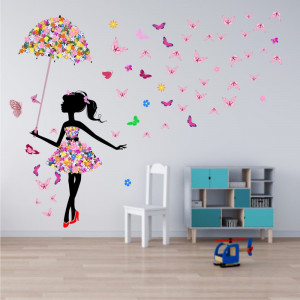 Sticker Fata cu Umbrela din Flori si cu Fluturi