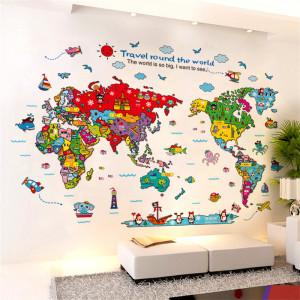 Sticker perete Funny World Map
