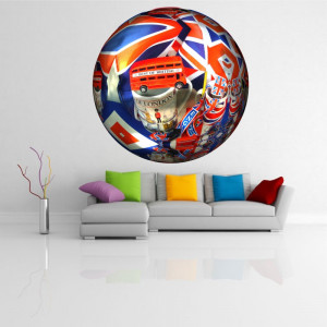 Sticker perete Globe London 3D