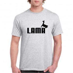 Tricou personalizat barbati gri Lama S
