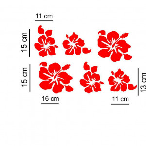 Sticker auto Flori 6 buc/set Rosu