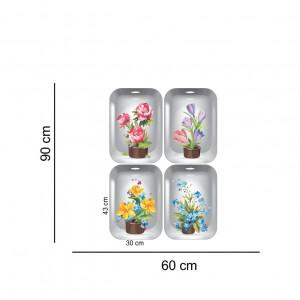 Sticker decorativ Flowers 3D ghiveci cu flori 4 buc/set 140x43cm