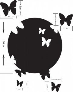 Sticker oglinda acrilica luna cu fluturi argintii 6