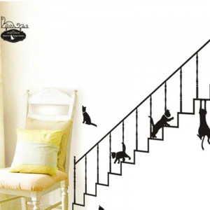 Sticker perete Black Cats on Stairs