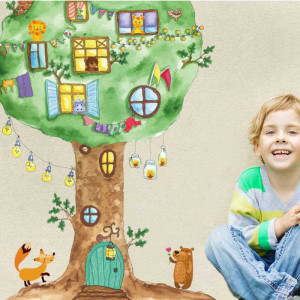 Sticker perete Casuta din Copac