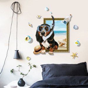 Sticker perete Dog on the Beach 3D