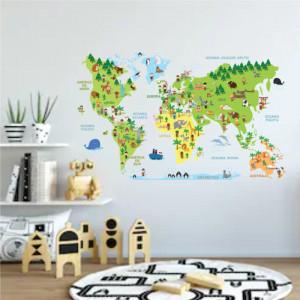 Sticker perete World Map animals