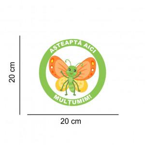 Sticker podea Asteapta Aici Fluturas