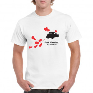 Tricou personalizat barbati alb Just Married S