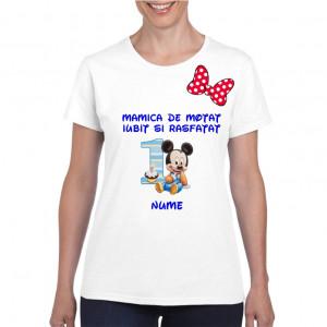 Tricou personalizat dama alb Mamica de Motat Iubit si Rasfatat