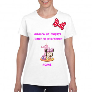 Tricou personalizat dama alb Mamica de Motata Iubita si Rasfatata S