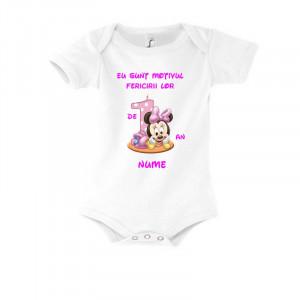 Body personalizat alb Eu sunt motivul fericirii lor Fetita 9-12 luni