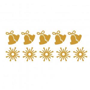 Sticker decorativ Clopotei si Fulgi de Nea Auriu