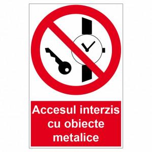 Sticker indicator Accesul interzis cu obiecte metalice