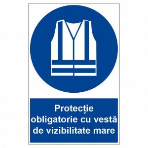 Sticker indicator Protectie obligatorie cu vesta de vizibilitate mare