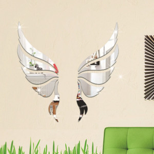 Sticker perete 3D Mirror Angel Silver