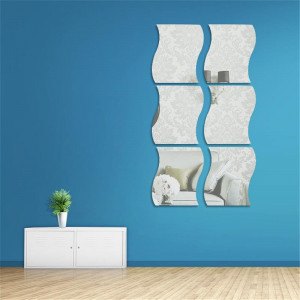 Sticker perete 3D Mirrors Silver 17x14 cm (6 buc/set)