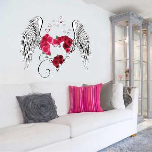 Sticker decorativ Aripi de Inger cu o inima din trandafiri 3