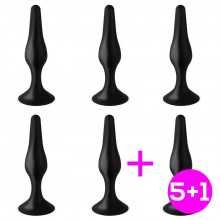 Pack 5+1 Trophy Plug Anal 15 cm Silicona Negro