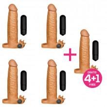 Pack 4+1 X-Tender Funda Realista para el Pene con Bala Vibradora