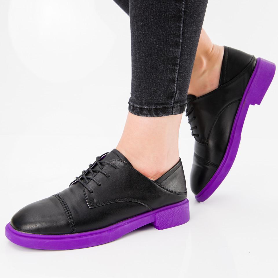 "Pantofi ""MireaFashion"" Cod: A029 BLACK/PURPLE (C014)"