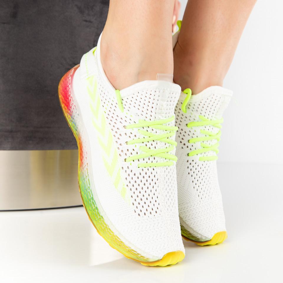 """Pantofi Sport """"MireaFashion"""" Cod: J77-2 WHITE/GREEN (K03)"""
